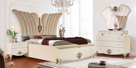 سرویس خواب دو نفره چوبی | قیمت و خرید تخت خواب دو نفره آرمیتا | شرکت ماکا چوب