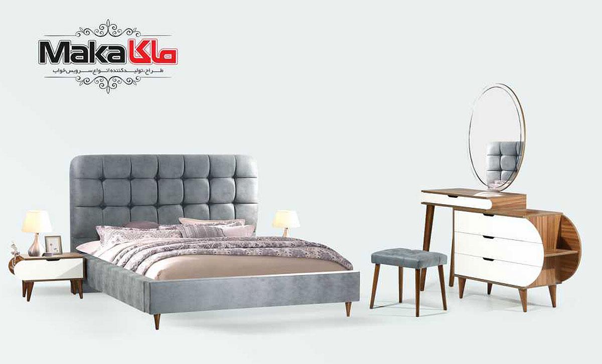 تخت خواب دو نفره چوبی | قیمت و خرید انواع تخت خواب | تولیدی تخت خواب ماکا چوب