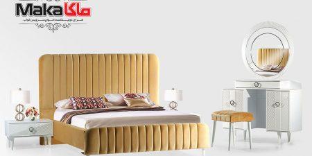 مشخصات قیمت و خرید تختخواب مدرن چوبی دو نفره | ولیدی تخت خواب ماکا چوب